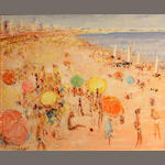 Alain Rousseau (French, born 1926) Beach scene 21 1/2 x 25 1/2in