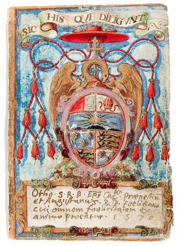"HERALDRY—ALBUM AMICORUM. Group of 39 paper ""cards"" bearing manuscript coats-of-arms and inscriptions, ink and wash, each approximately 120 x 80 mm, 1570s,"