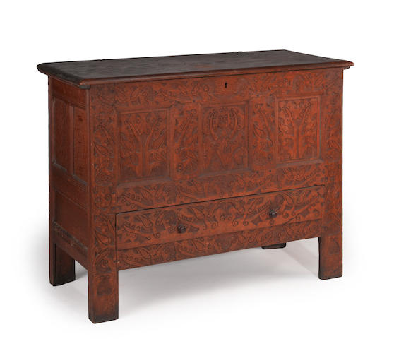 The Foote family carved oak chest Hadley-Hatfield, Massachusetts  circa 1690-1710