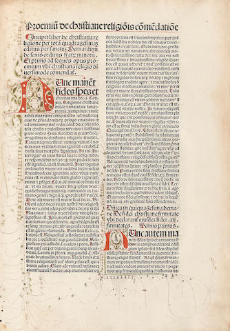 BERNARDINUS OF SIENNA, SAINT. 1380-1444. Quadragesimale da [christ]iana religione. [Basel: Johann Amerbach, not after 1490.]
