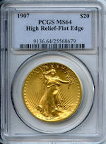 1907 $20 High Relief Flat Edge MS64 PCGS