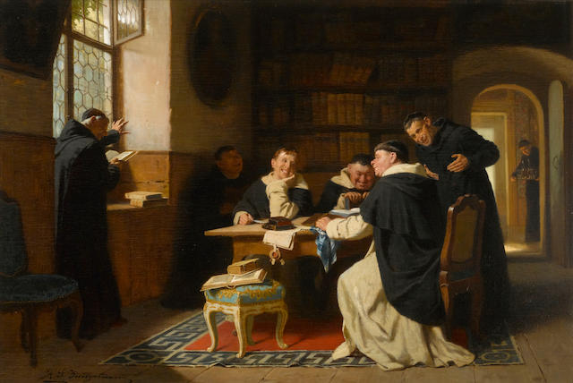 Reinhard Sebastian Zimmermann (German, 1815-1893) Reading Boccaccio 19 x 28 1/2in (48.2 x 72.4cm)