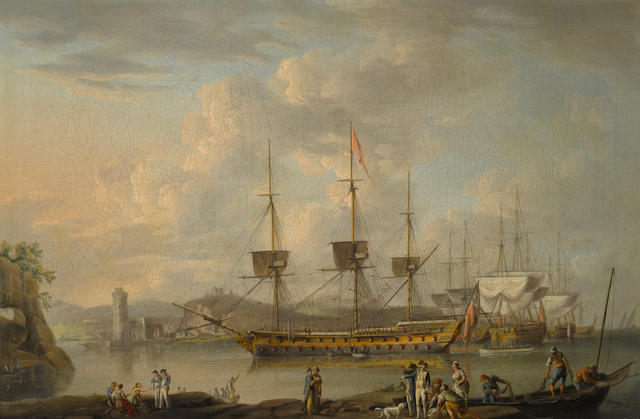 English School, circa 1680 Men-O'-War at anchor, with figures in the foreground 24 x 35 3/4in (61 x 90.8cm)