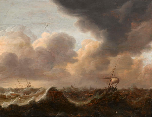 Attributed to Pieter van der Croos (Alkmaar circa 1610-1677 Amsterdam) Ships on a storm-tossed sea 16 x 21 1/2in (40.6 x 54.6cm)