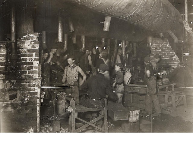 Lewis Wickes Hine (American, 1874-1940); Night Scene in an Indiana Glass Works; Day Scene in an Indiana Glass Works; (2)