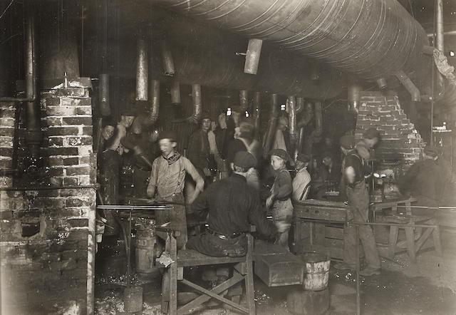 Lewis Wickes Hine (American, 1874-1940); Night Scene in an Indiana Glass Works; Day Scene in an Indiana Glass Works; (2)
