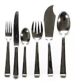 163 piece set german 800 standard silver flatware in keyed canteen Bruckmann & Sohne, Heilbronn <br>monogrammed: M