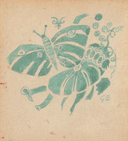 (n/a) Georges Braque (French, 1882-1963), AUTHENTICATING Butterfly image 5 7/8 x 4 1/2in (15 x 11.5cm); sheet 9 5/16 x 7 11/16in (23.7 x 19.5cm)