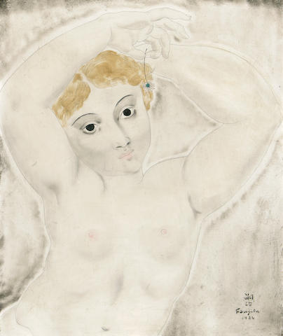 Léonard Tsuguharu Foujita (Japanese/French, 1886-1968), AUTHENTICATING Nude study, 1924 18 x 14 15/16in (45.7 x 38cm)