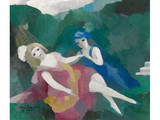 Marie Laurencin (1885-1956) Deux filles, 1925 15 x 18in (38.1 x 45.7cm)