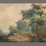 Johannes I Janson (Dutch, 1729-1784) A wooded landscape with cattle and sheep resting on a track with two figures behind 15 x 18in (38 x 45.7cm)
