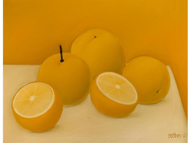 Fernando Botero (Colombian, born 1932) Still life with oranges, 1967 22 1/16 x 28 3/8in (56 x 72cm)