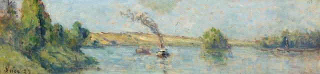 Maximilien Luce (French, 1858-1941) Un remorqueur sur la Seine près de Rolleboise, 1929 4 3/4 x 19 7/8in (12 x 50.5cm)