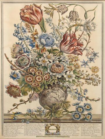 FURBER, ROBERT. c.1674-1756. Twelve Months of Flowers. Kensington: Robert Furber, 1730.