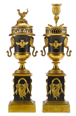 A pair of Empire patinated and gilt bronze cassolettes  first quarter 19th century