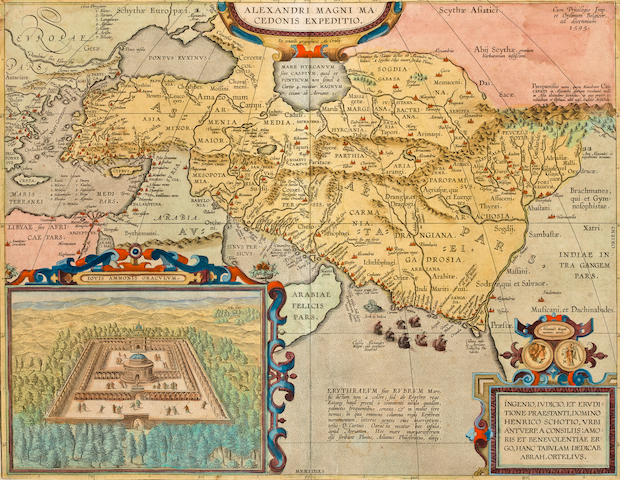 ORTELIUS, ABRAHAM. 1527-1598. Alexandri Magni Macedonis expeditio. Antwerp: 1595 [or later].