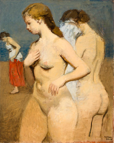 Raphael Soyer (American, 1881-1961) On the Beach 20 x 16in
