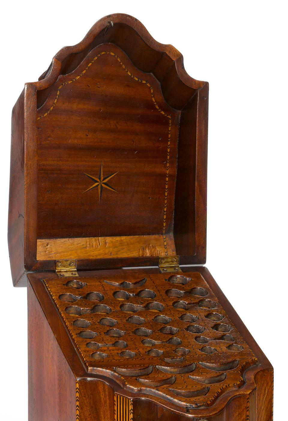 A George III inlaid mahogany knife box fourth quarter 18th century