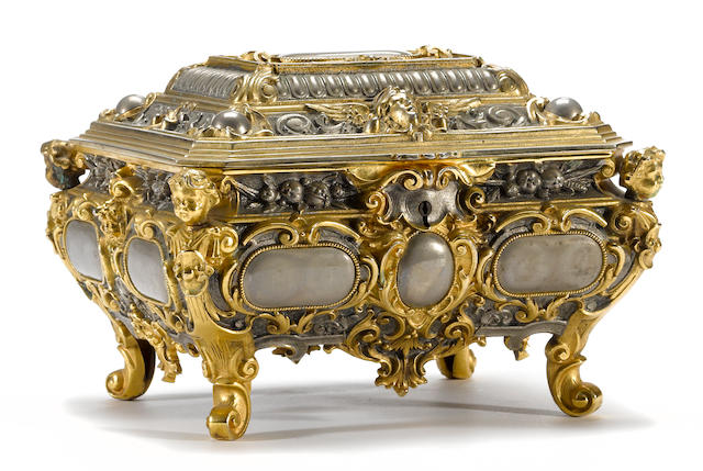 A Napoleon III silvered and gilt bronze taste box <br> third quarter 19th century