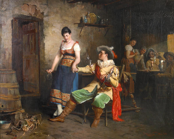 Johann Hamza (German, 1850-1927) A flirtatious moment 22 1/2 x 28in (57.2 x 71.1cm)