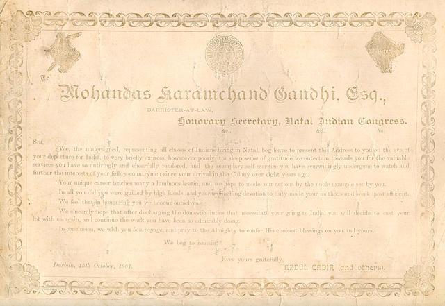 [GANDHI, MOHANDAS K.  1869-1948.] CADIR, ABDUL, et al. To Mohandas Karamchand Gandhi, Esq.... Durban: October, 1901.