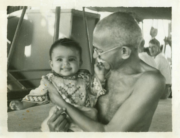 [GANDHI, MOHANDAS K.  1869-1948.] Album of approximately 67 silver print and silver gelatin print photographs of Gandhi,