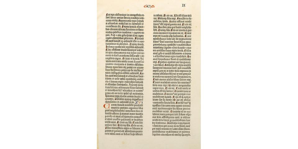 GUTENBERG BIBLE. [Bible in Latin. Mainz: Johann Gutenberg  and Fust, 1455].