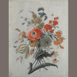 Attributed to Le Riche A study of flowers and insects 15 3/4 x 12 1/2in (40 x 31.7cm)