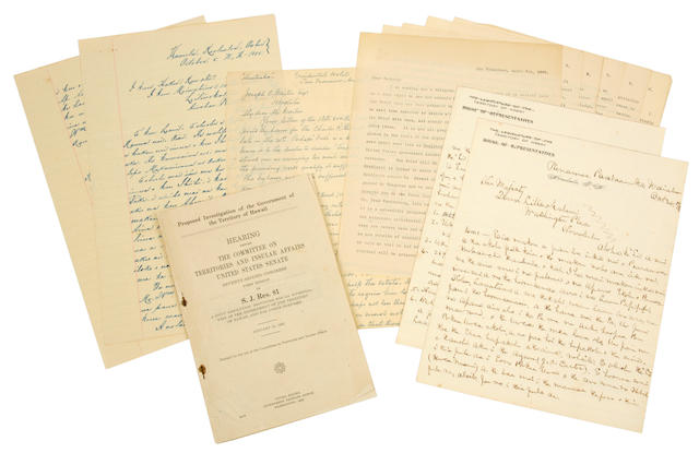 HAWAII—JOSEPH O. CARTER ARCHIVE. A collection of Autograph Letters Signed, Typed Letters Signed, Documents Signed,