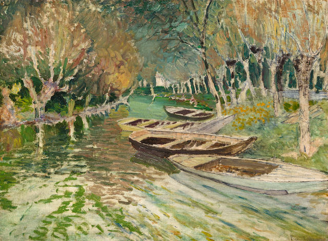 Vaclav Radimsky (Czech, 1867-1946) Boats at anchor on a stream 21 1/2 x 28 3/4in (54.6 x 73cm)