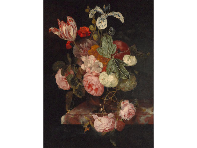 Cornelis Kick (Amsterdam circa 1635-1681) A still life with roses, an iris, a tulip and other flowers in a vase resting on a ledge 23 1/4 x 17 1/2in (59 x 44.4cm)