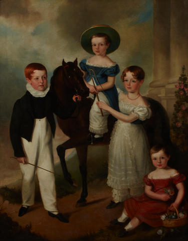 English School, 19th Century A portrait of four children and a pony 56 x 44in