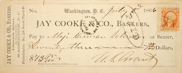 "GRANT, ULYSSES S. 1822-1885. Check Accomplished and Signed (""U.S. Grant""),"