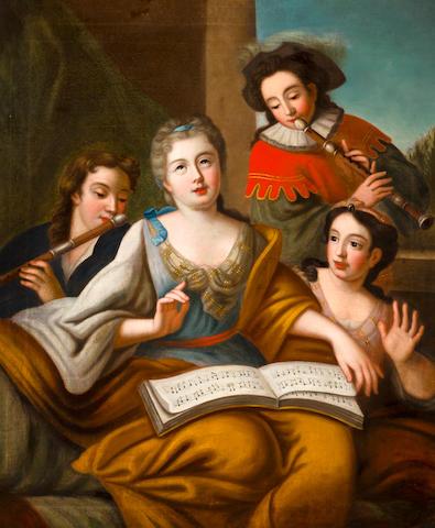 Follower of Jacques-François Courtin (Sens 1672-1752 Paris) The music lesson 43 1/4 x 36in (110 x 91.5cm)