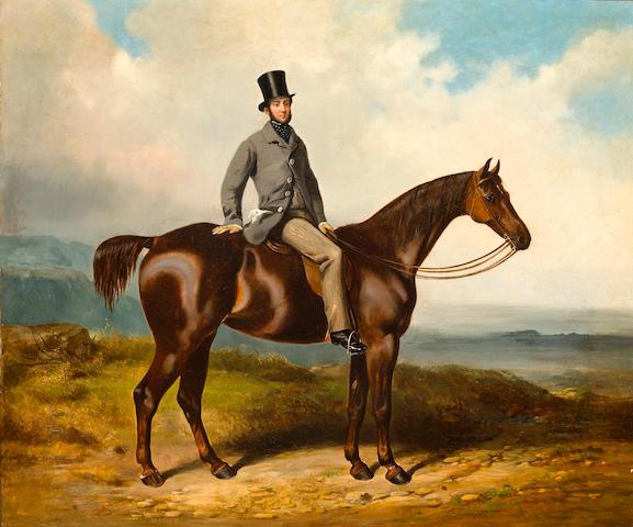 Henry Barraud (British, 1811-1874) A gentleman on a chestnut hunter 20 x 24in