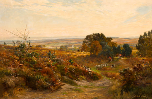 Frederick William Newton Whitehead (British, 1853-1938) The South Dorset Hunt on Eggleton Hill 47 1/2 x 71 1/2in (121 x 182cm)