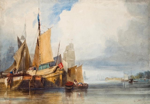 William Callow, RWS (British, 1812-1908) Merchant ships at anchor in a port 7 1/8 x 10 1/4in (18 x 26cm) unframed