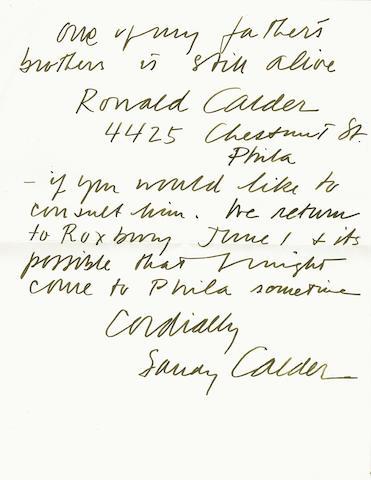 "TWENTIETH CENTURY ARTISTS. 1. CALDER, ALEXANDER. 1898-1976. Autograph Letter Signed (""Sandy Calder""), 2 pp, 4to, Sache, France, n.d."