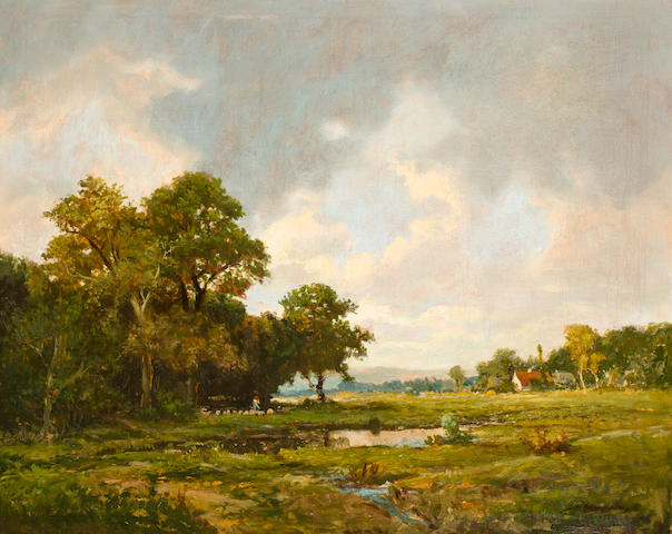 Jerome B. Thompson (American, 1814-1886) Pastoral landscape 30 x 37in