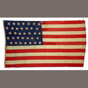 An American linen and cotton thirty five star flag . circa 1863