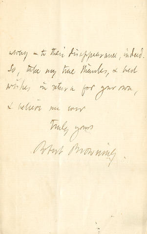"BROWNING, ROBERT. 1812-1889. Autograph Letter Signed (""Robert Browning""), 3 pp recto and verso, 8vo (conjoining leaves), [London], November 30, 1875,"