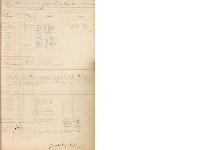 CIVIL WAR—CLOTHING LEDGER. Manuscript album in various hands, 221 pp recto and verso, folio, n.p., January 1, 1864 to January 1, 1865, being the clothing ledger for companies A, E, and F