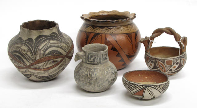 Five Southwest pottery vessels