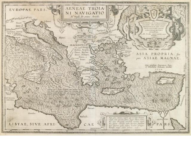 MEDITERRANEAN SEA MAP. ORTELIUS, ABRAHAM.  1527-1598. Aeneae Troiani Navigatio. Amst: 1594.