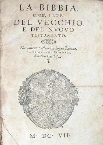 [BIBLE IN ITALIAN.] La Bibbia. Cioe, i libri del Vecchio, e del Nuovo Testamento. [Geneva]: 1607.
