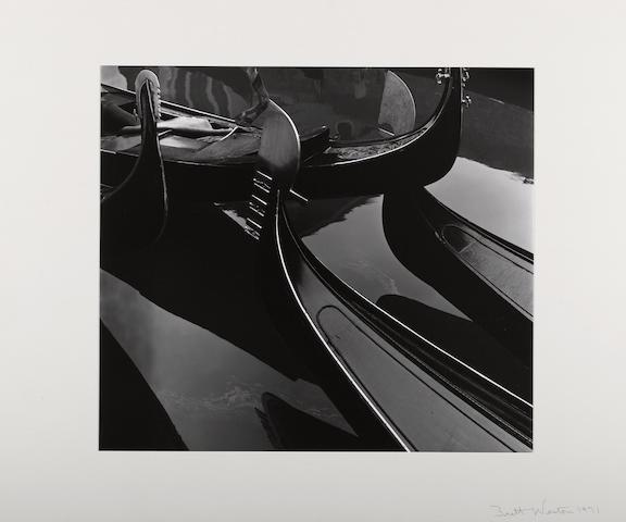 Brett Weston (American, 1911-1993); Gondolas, Venice, Pl. 3 from Europe Portfolio;