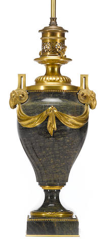 A Louis XVI style gilt bronze mounted marble oil lamp, converted to electricity <br>third quarter 19th century