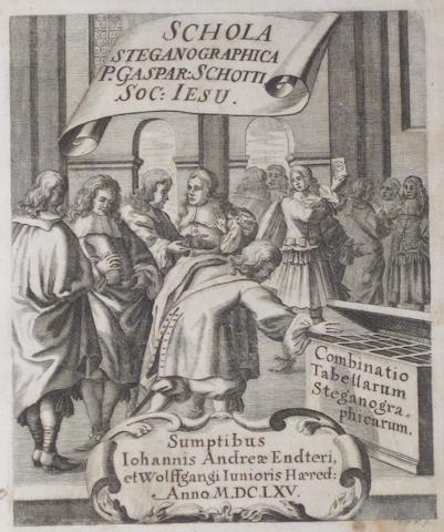 SCHOTT, GASPAR. 1608-1666. Schola steganographica, in classes octo distributa. Nuremberg: Jobus Hertz, 1680.
