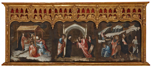Italian School, 16th Century The Adoration of the Shepherds, The Presentation of Jesus at the Temple, The Flight into Egypt (a predella) 15 x 47 1/2in (38.1 x 120.7cm)