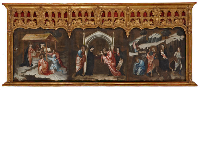 Italian School PIGMENTS MUST BE TESTED The Adoration of the Shepherds, The Presentation of Jesus at the Temple, The Flight into Egypt 15 x 47 1/2in (38.1 x 120.7cm)
